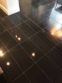Black granite floor
